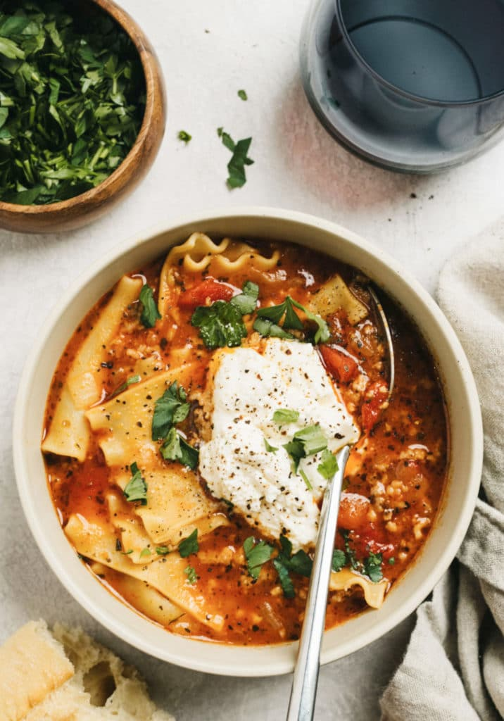Instant-Pot-Lasagna-Soup-Vertical-Overhead-in-bowl2