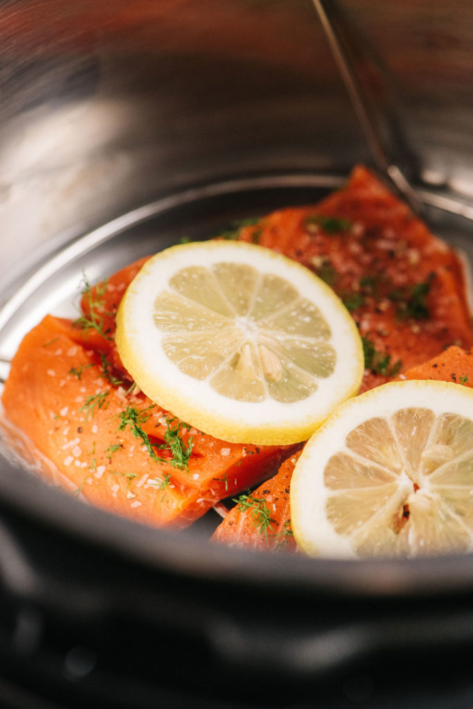 Wild salmon in Instant Pot with lemon veritcal