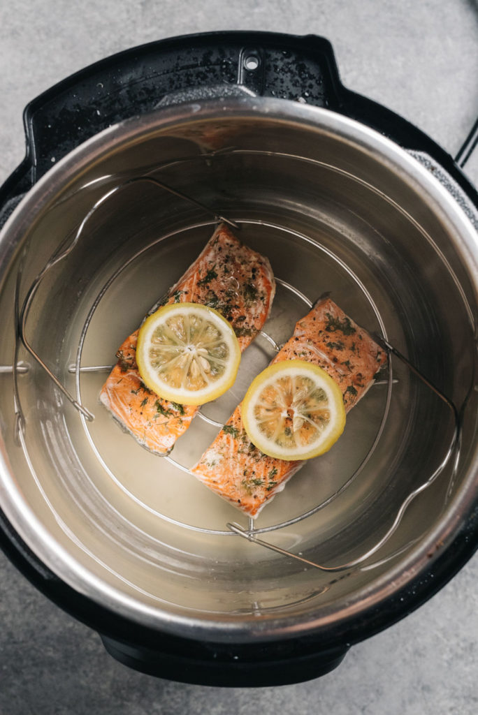 Salmon in Instant Pot Overhead cooked