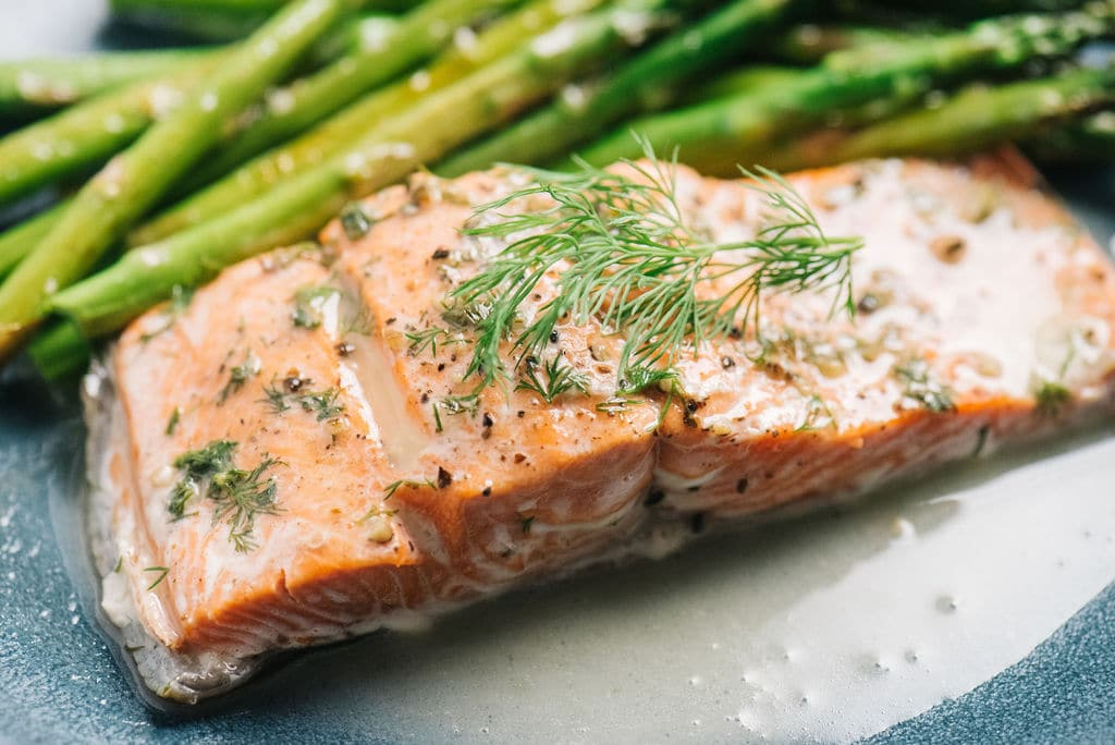 Instant Pot Salmon on plate with dill horizontal