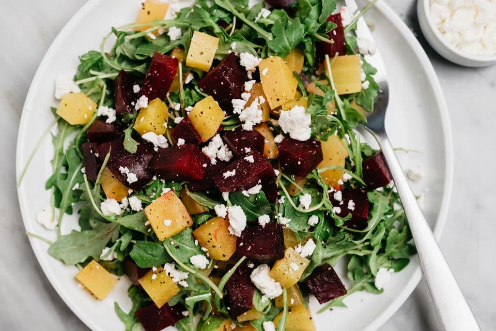Sous Vide beet salad overhead horizontal