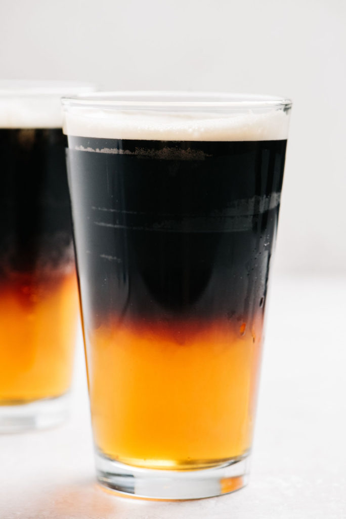 black and tan beer close up in glasses