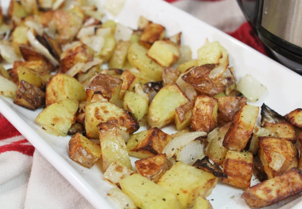 air fryer roasted potatoes close up
