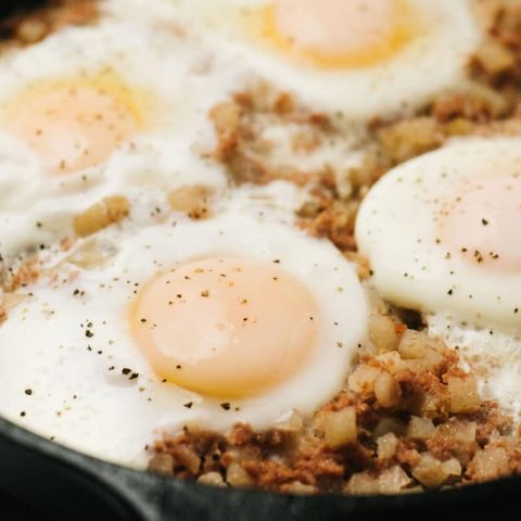 fully cooked corned beef hash in skillet