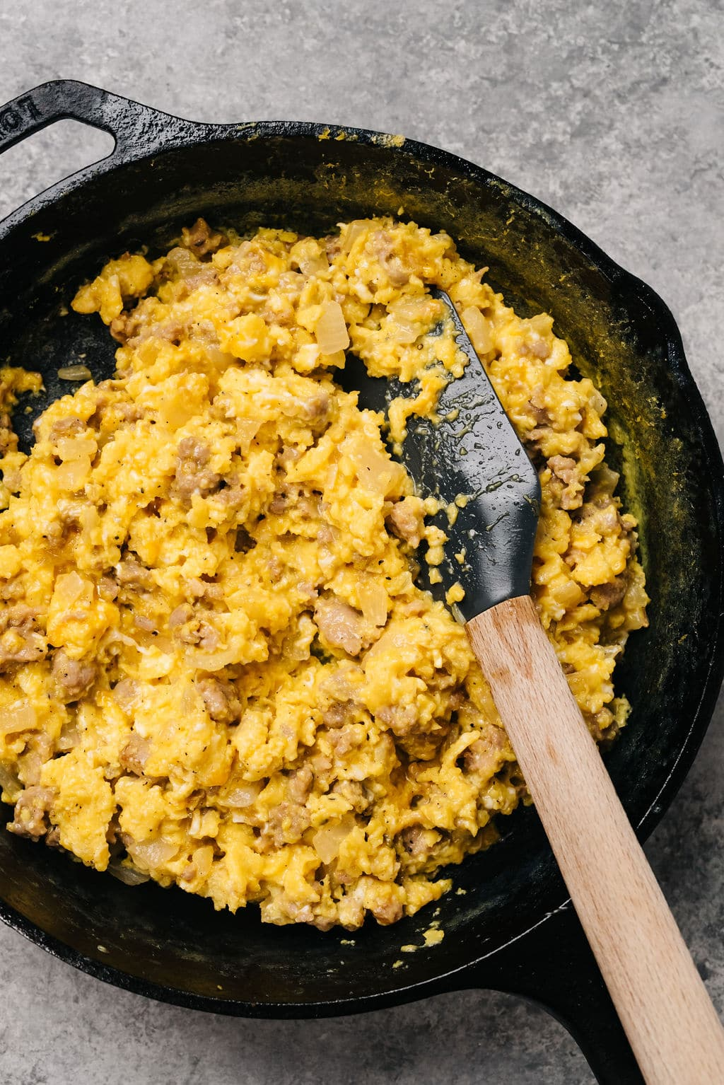 Breakfast Scramble for camping in cast iron vertical