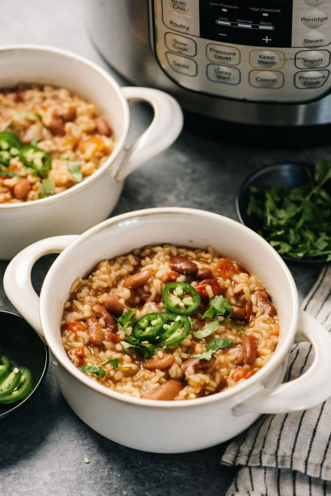 Beans and Rice in serving bowls vertical
