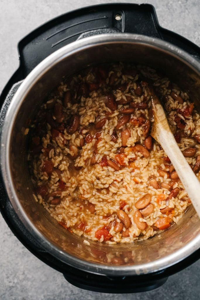 Instant Pot Beans and Rice overhead in pot