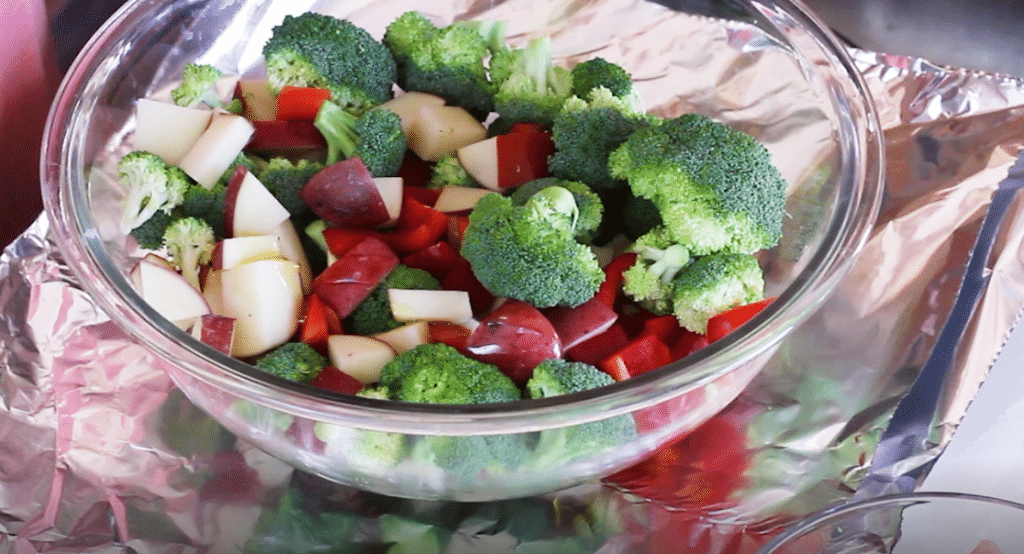 Foil Packet Recipes Raw Ingredients in Bowl