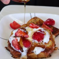 Brioche French Toast with Syrup vertical