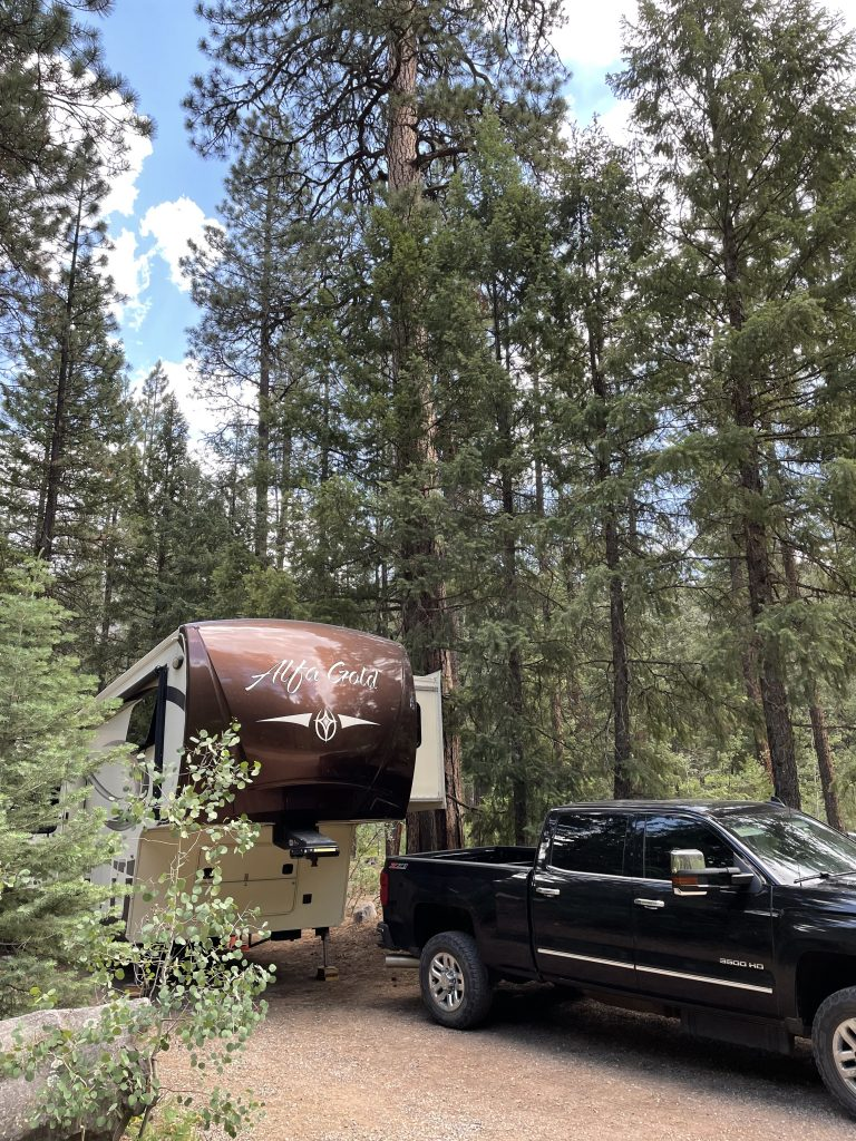 Rv and truck in the woods for an RV meal