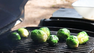 grilled brussels sprouts on the grill